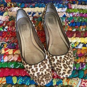 Pelle Moda Leopard Print Fur Slip On Shoes